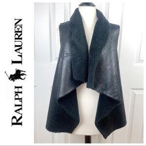 RALPH LAUREN M Faux Leather Fleece Lined Vest